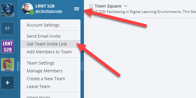 Image showing how to access team invitation code in Mattermost