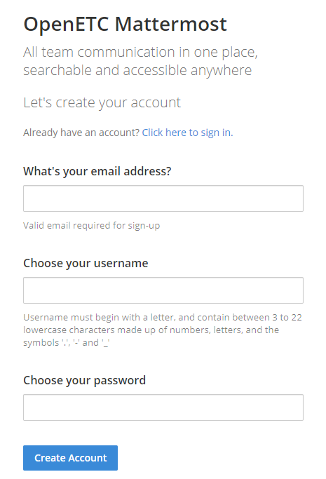Screenshot of Mattermost account creation page