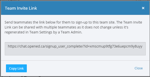 Screenshot of Mattermost team invitation