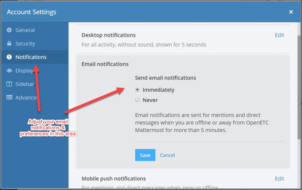 Mattermost screen shot showing how to enable and disable email messages