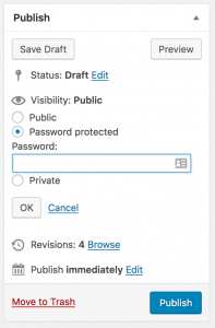 Screenshot of the Publish section when editing a WordPress page or post, used to make a post private.