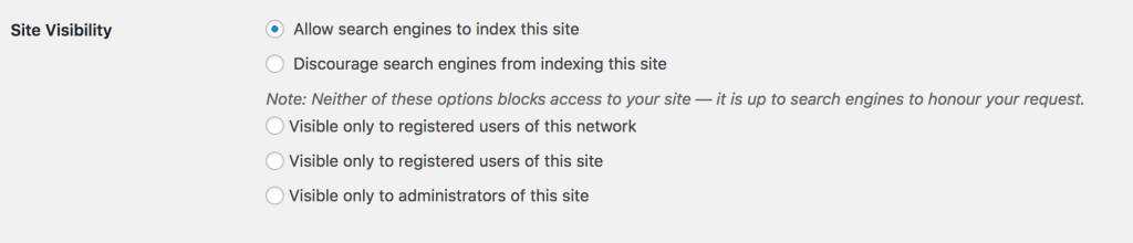 Screenshot of the Site Visibility settings in WordPress