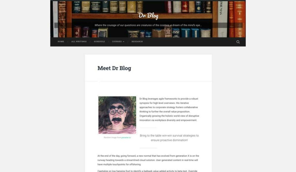 "A home page for Dr Blog, header image of books, and content listed under ""Meet Dr Blog"" rather than a list of posts."