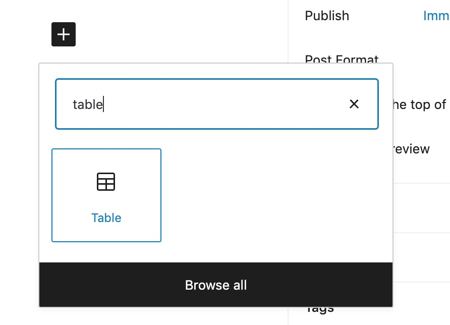 """The block editor with """"Table"""" in the search field and the pne matching block appears below."""